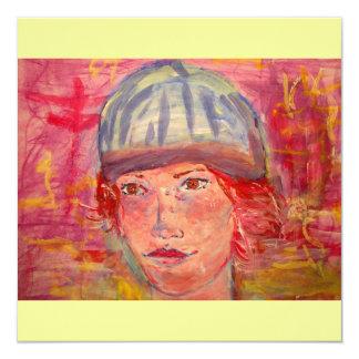 menina do chapéu da meia convite quadrado 13.35 x 13.35cm
