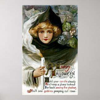 Menina do Dia das Bruxas do vintage Poster