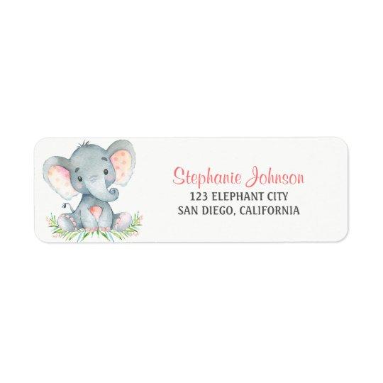 Menina do elefante da aguarela etiqueta endereço de retorno