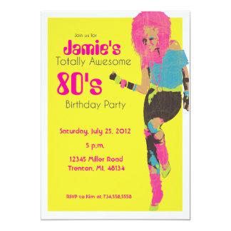 menina do encanto do anos 80 convite 12.7 x 17.78cm