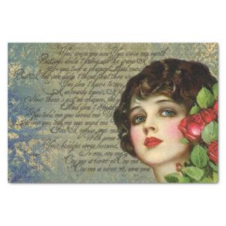 Menina do encanto do Victorian com lenço de papel