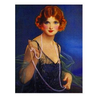Menina do Flapper do vestido & cartão azuis da