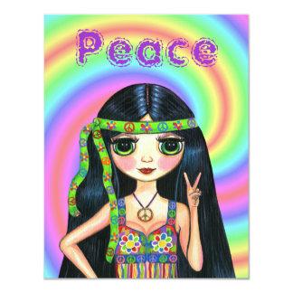 menina do Hippie do sinal de paz dos anos 60 com Convite 10.79 X 13.97cm