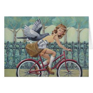 Menina do jornal no cartão da arte da bicicleta