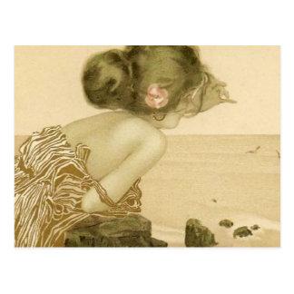 Menina do mar do vintage com o cartão do rosa do r cartao postal