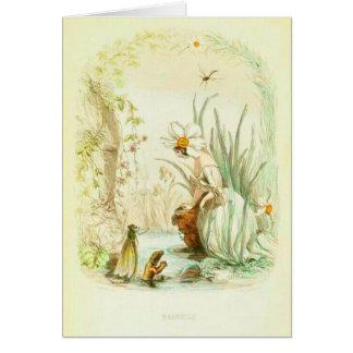 Menina do narciso cartão comemorativo