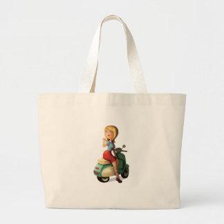 Menina do patinete bolsas para compras