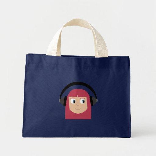 Menina do personagem de desenho animado com fones  bolsa
