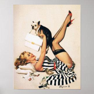 Menina do Pin-acima do amante do filhote de cachor Poster