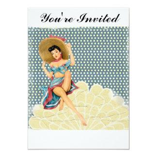 Menina do Pinup do vintage Convite 12.7 X 17.78cm