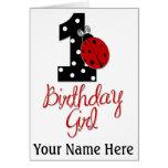 Menina do primeiro aniversario - senhora Desinseta Cartões