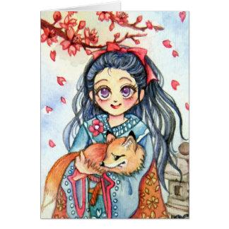 Menina do quimono que guardara pouco Fox Cartão De Nota
