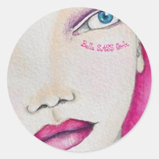 Menina do SASS de Bella - etiquetas cor-de-rosa
