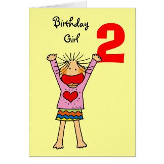 Menina do segundo aniversário cartão comemorativo