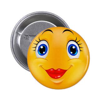 Menina do sorriso bóton redondo 5.08cm