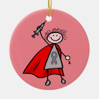 Menina do super-herói da insulina do diabetes ornamento de cerâmica redondo