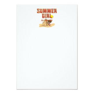 Menina do verão do T Convite 12.7 X 17.78cm