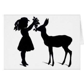 Menina do Victorian com o cartão de Natal da