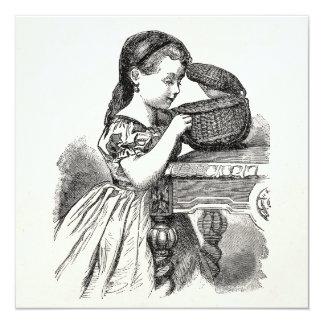 Menina do Victorian do vintage com cesta Convite Quadrado 13.35 X 13.35cm