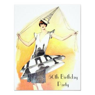 Menina do vintage aniversário do traje da torre convite 10.79 x 13.97cm