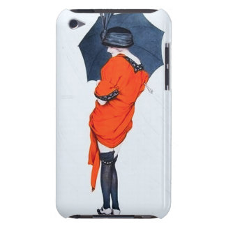 Menina do vintage com capa do ipod touch do