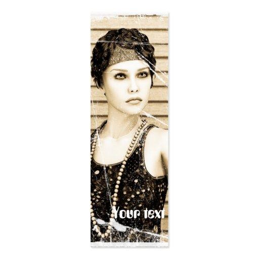 Menina do vintage, efeito velho da foto cartões de visitas