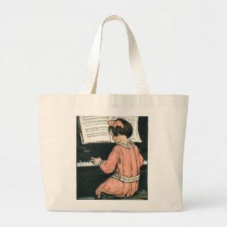 Menina do vintage, música, piano, Jessie Willcox Bolsas De Lona