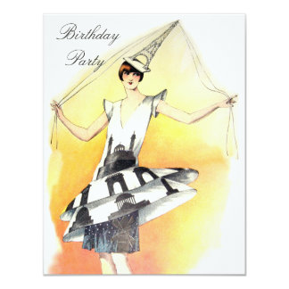 Menina do vintage no aniversário do traje da torre convite 10.79 x 13.97cm