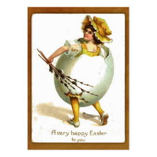 Menina do vintage no Tag do presente do traje do Cartão De Visita Grande