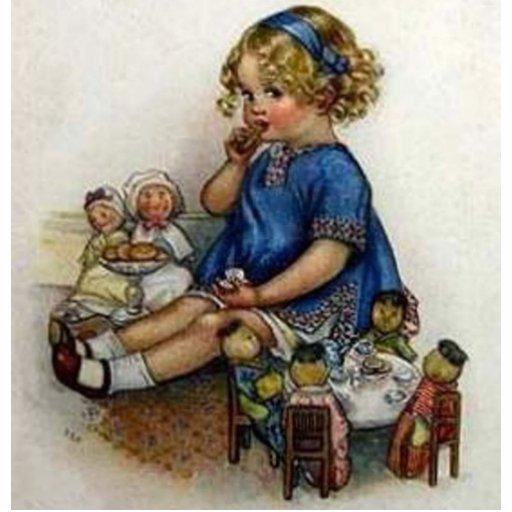 Menina do vintage que joga com bonecas esculturafotos
