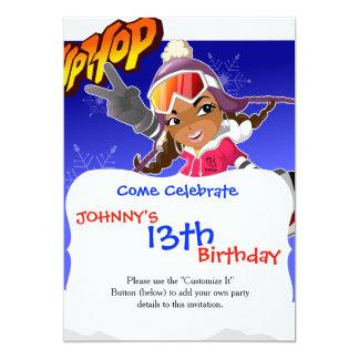 Menina dos desenhos animados de Hip Hop no Convite 12.7 X 17.78cm