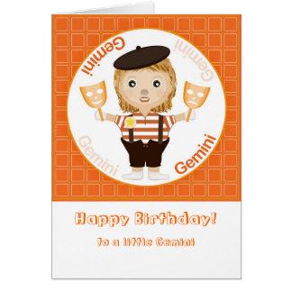 Menina dos Gêmeos - feliz aniversario Cartão Comemorativo