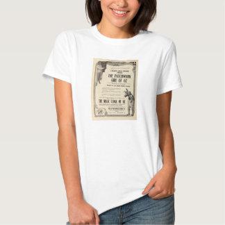 Menina dos retalhos do anúncio do expositor do camisetas