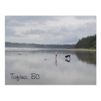 Menina e cão na praia cartão postal