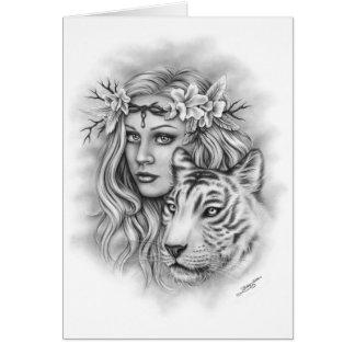 Menina e cartão branco da força do tigre
