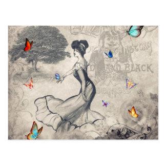 Menina e cartão das borboletas