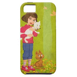 Menina e caso engraçado do iPhone 5 da impressão Capa Para iPhone 5