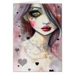 Menina e corações da arte da fantasia da aguarela cartao