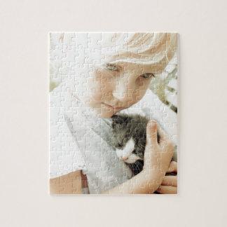 Menina e gatinho quebra-cabeças