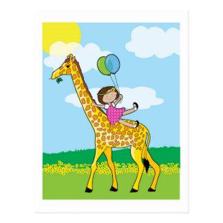 Menina e girafa cartao postal