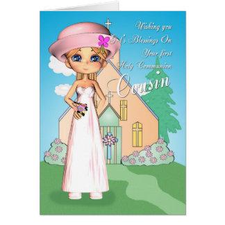 Menina e igreja do comunhão santamente do primo cartão comemorativo