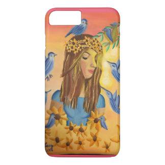 Menina e pássaros capa iPhone 7 plus