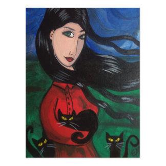 Menina e seus gatos pretos cartão postal