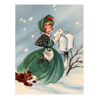 Menina em cartões de Natal de envio pelo correio