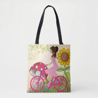 Menina em um bolsa da bicicleta