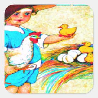 Menina em um chapéu flexível com choque de adesivo quadrado