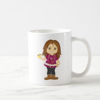 Menina estragada caneca de café