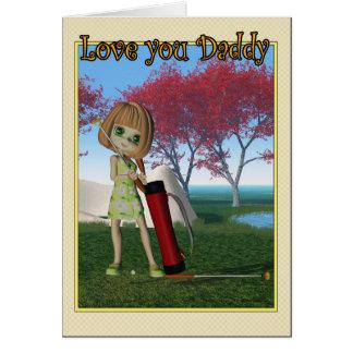 Menina feliz do dia dos pais que joga o golfe cartoes