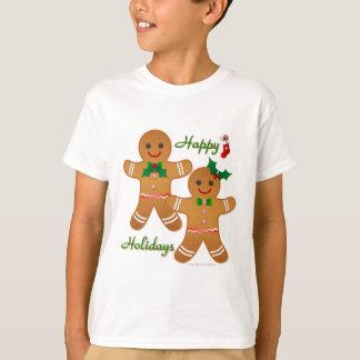Menina feliz do menino do homem de pão-de-espécie camiseta