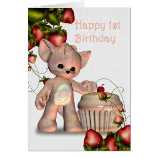 Menina feliz do primeiro aniversario cartão comemorativo